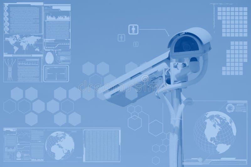 CCTV oder Überwachung mit Technologieschirmschicht stockfotografie