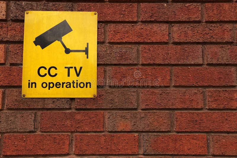 CCTV in operation. Board informing that security cameras are in operation royalty free stock photos