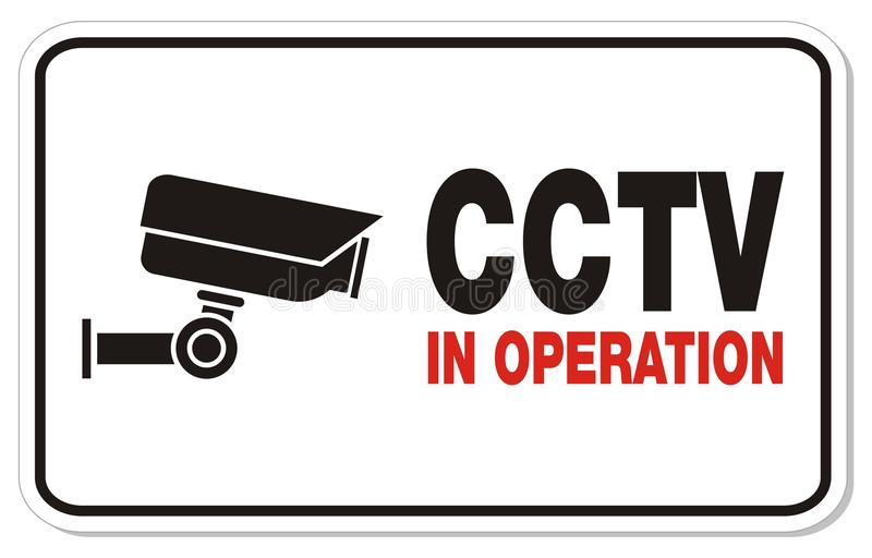 CCTV in operation - rectangle sign stock illustration