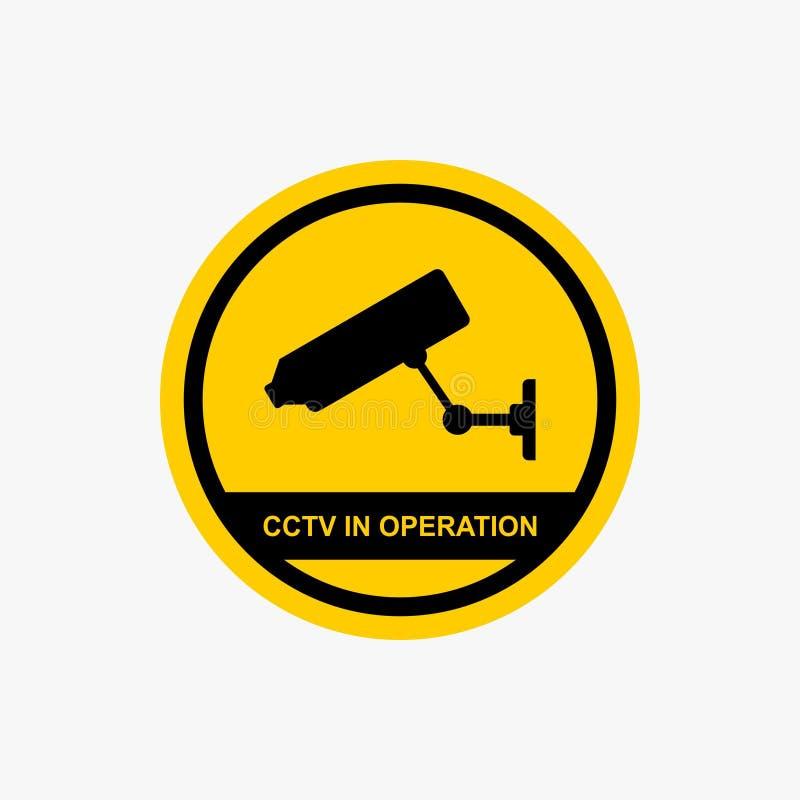 CCTV in operation sign warning icon design vector stock illustration