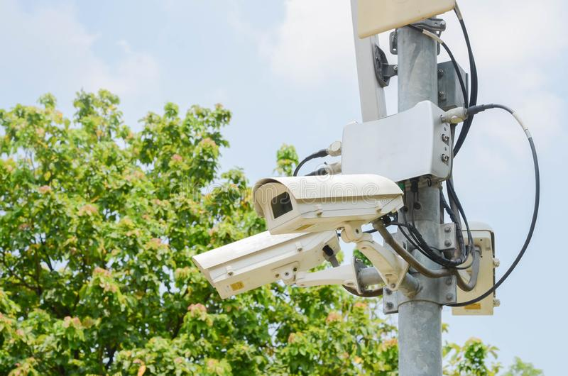CCTV in parco verde per sicurezza di sorveglianza fotografia stock