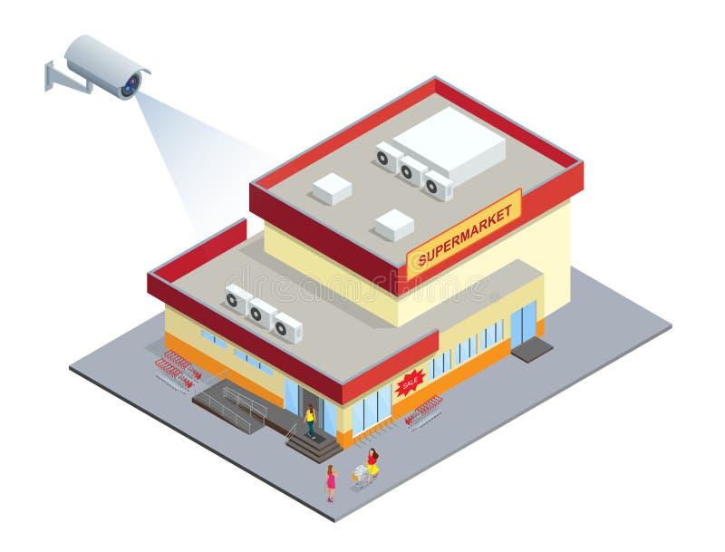 Cctv-säkerhetskamera på isometrisk illustration av supermarket isometrisk illustration för vektor 3d royaltyfri illustrationer