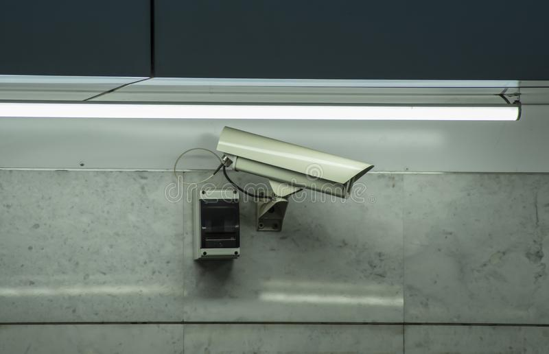 CCTV security camera installed in airport and subway royalty free stock images