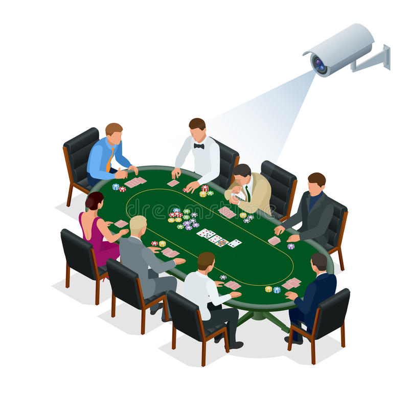 CCTV security camera on isometric illustration of people playing poker at the casino. 3d isometric vector illustration royalty free illustration