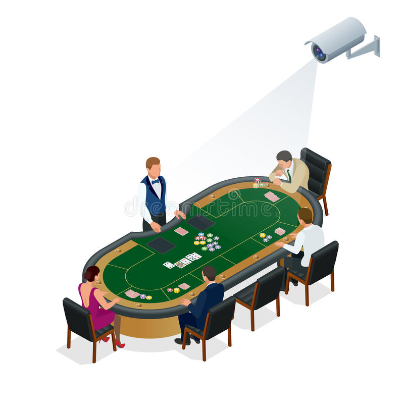 CCTV security camera on isometric illustration of people playing poker at the casino. vector illustration