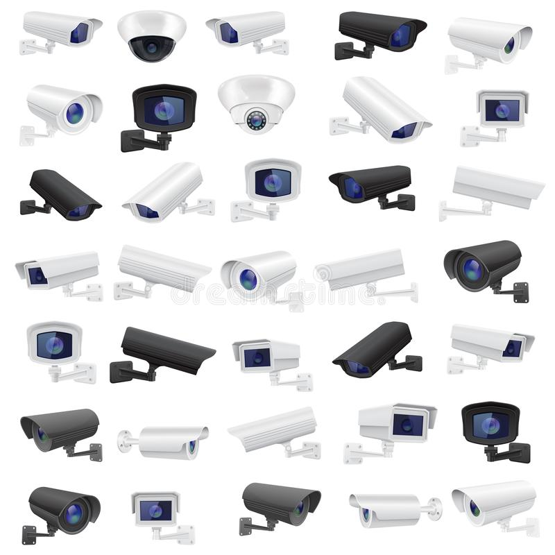 CCTV security camera. Large collection of black and white surveillance devices. Vector 3d illustration isolated on white background vector illustration