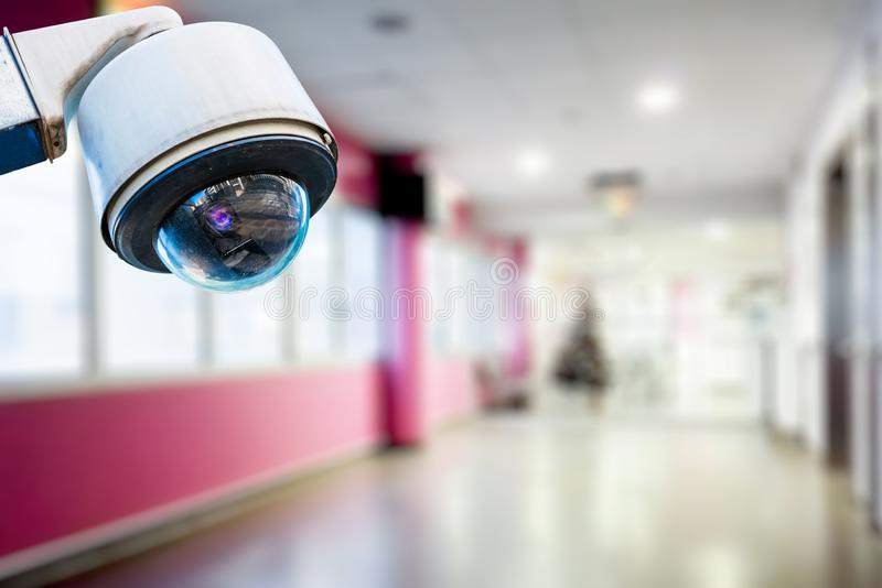 CCTV Security Camera operating in hospital stock image