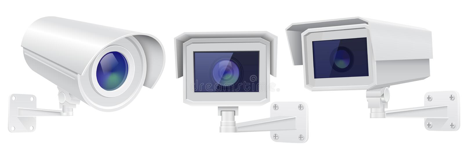 CCTV security camera. Set of surveillance devices. Vector 3d illustration isolated on white background royalty free illustration