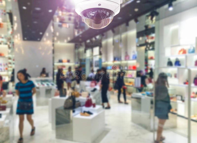 CCTV security camera on shopping department store. royalty free stock image