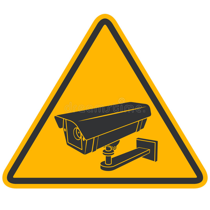 CCTV security camera warning sign. CCTV security video camera warning black and yellow sign isolated on white background. Surveillance street pyramid shaped sign stock illustration