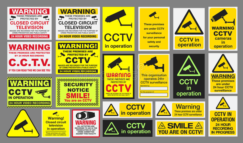 CCTV Signs. Vector pack of different CCTV Closed Circuit Television sings vector illustration