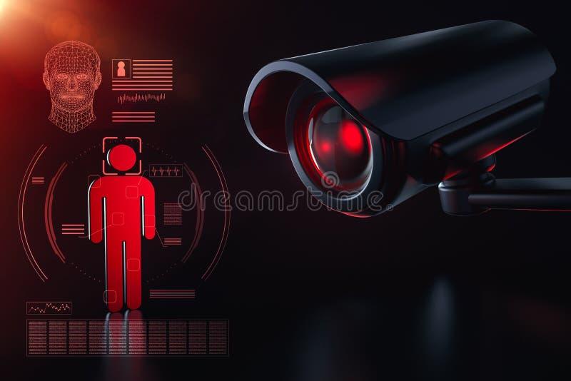 Cctv sprawdza informację o mieszkanu w inwigilacji system bezpieczeństwa pojęciu Wielki Brat ogląda ciebie pojęcie 3d royalty ilustracja