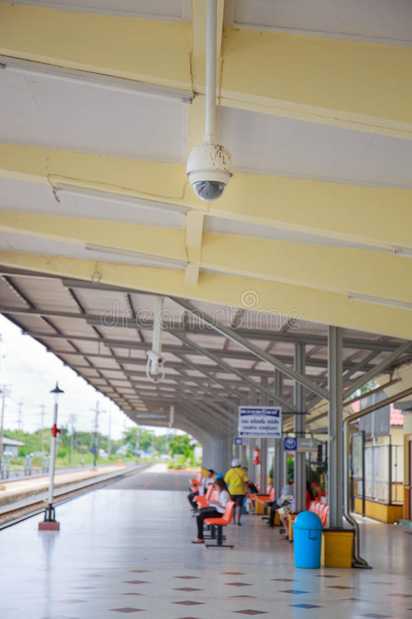CCTV or surveillance operating in train station royalty free stock photography
