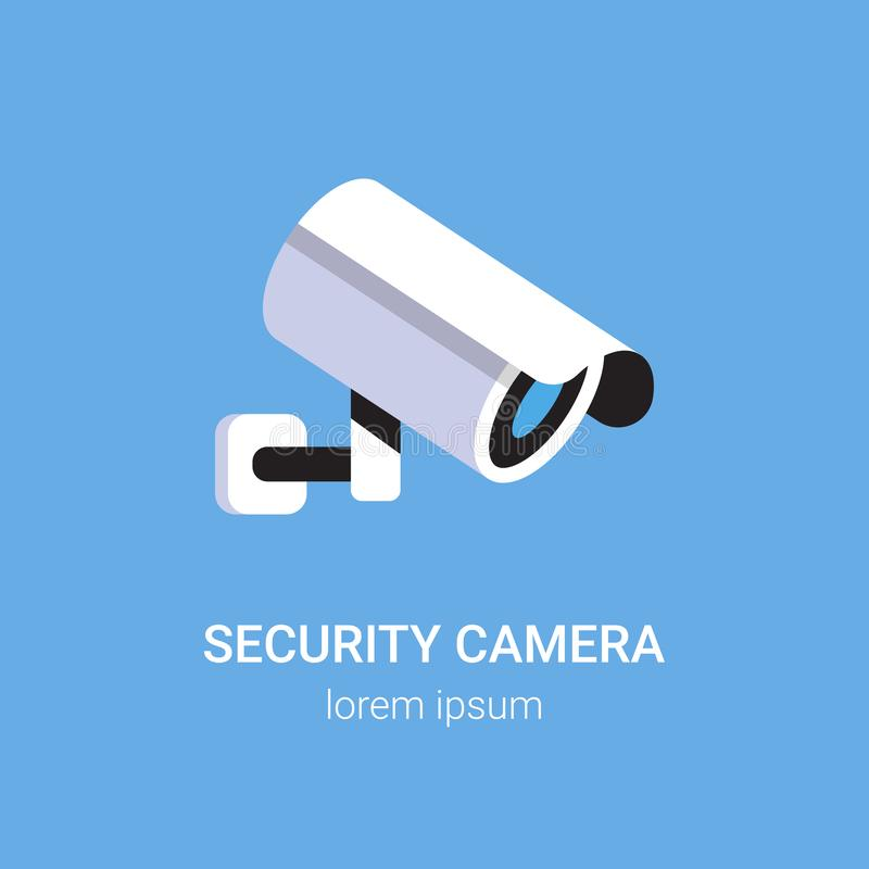 CCTV surveillance system security camera monitoring equipment on wall professional guard concept blue background flat stock illustration