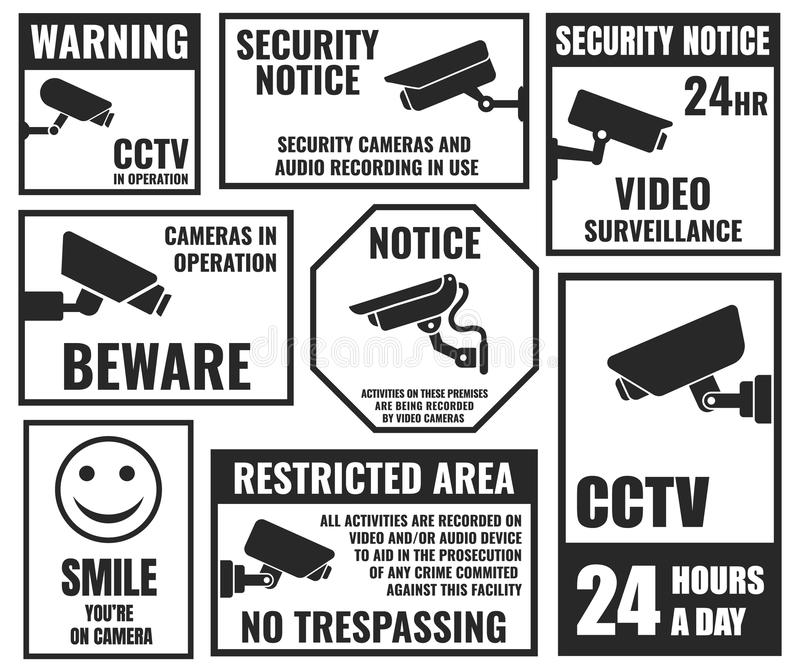 Cctv symbols, security camera sticker, video surveillance. Security camera stickers set, cctv protection symbols royalty free illustration