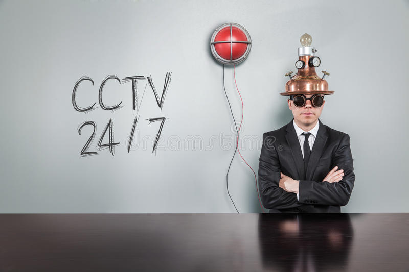Cctv 247 text text with vintage businessman. And alert light stock image