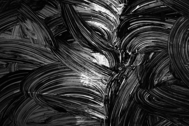 Ccurved brush strokes paint pattern on wall. Abstract background texture, white curved brush strokes paint pattern over black wall royalty free stock photography