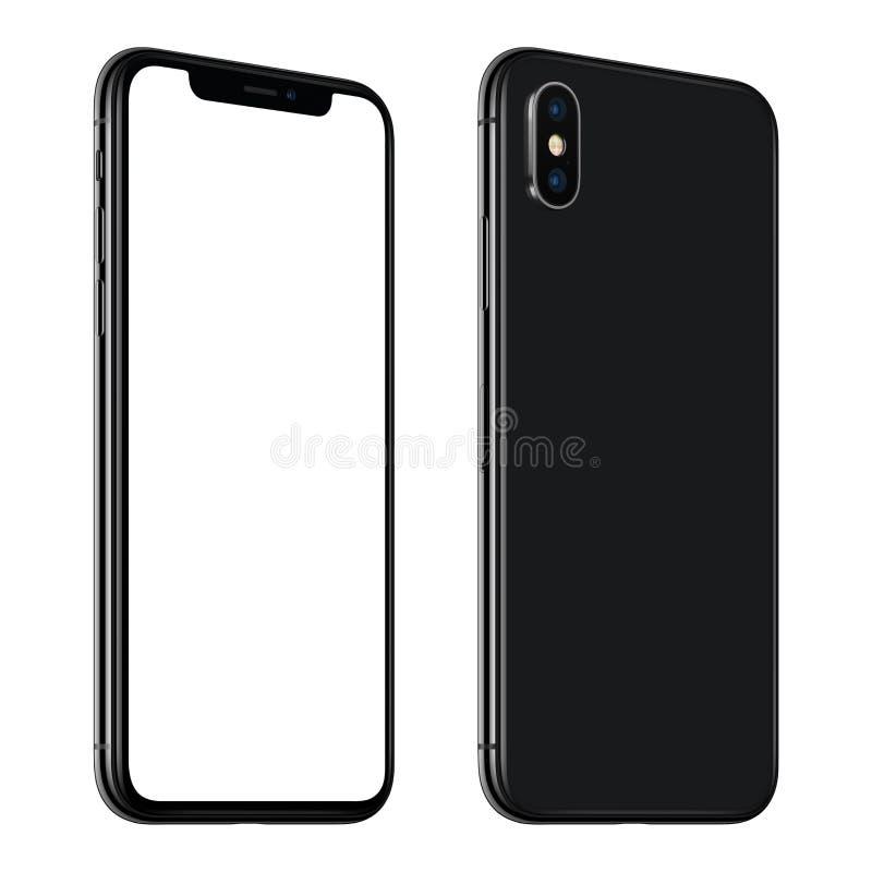 CCW vordere und Rückseiten des neuen schwarzen Smartphonemodells gedreht lokalisiert auf weißem Hintergrund lizenzfreie stockfotografie