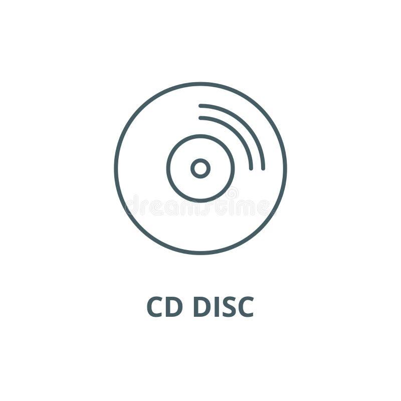 CD的圆盘线象,传染媒介 CD的圆盘概述标志,概念标志,平的例证 向量例证