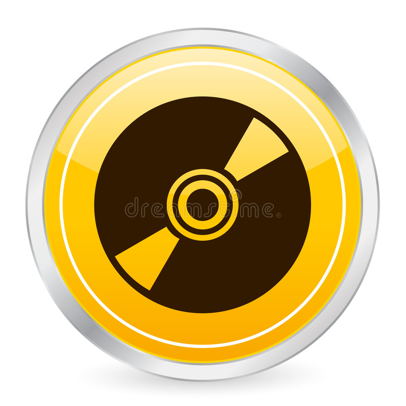 CD的圈子图标黄色 向量例证