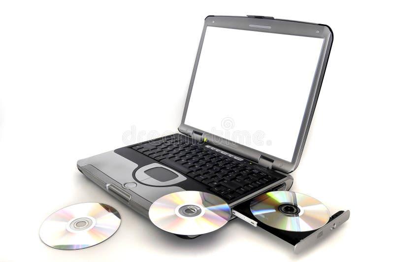 CD的膝上型计算机s 免版税库存照片