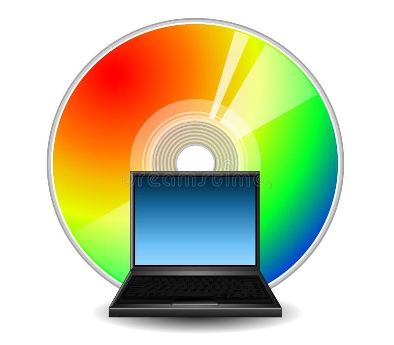 CD的计算机数据膝上型计算机徽标 向量例证