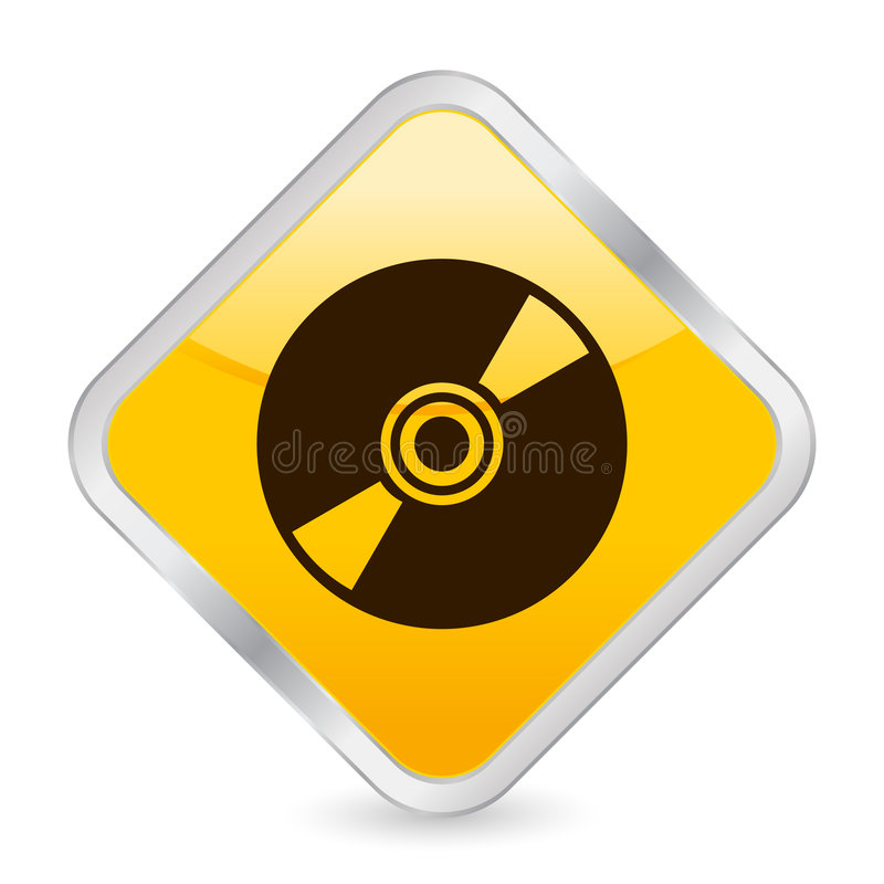 cd желтый цвет квадрата иконы иллюстрация штока