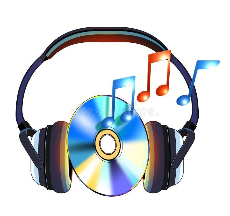 cd нот наушников иллюстрация вектора