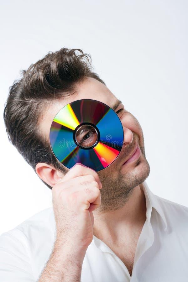 cd человек удерживания стоковое изображение rf