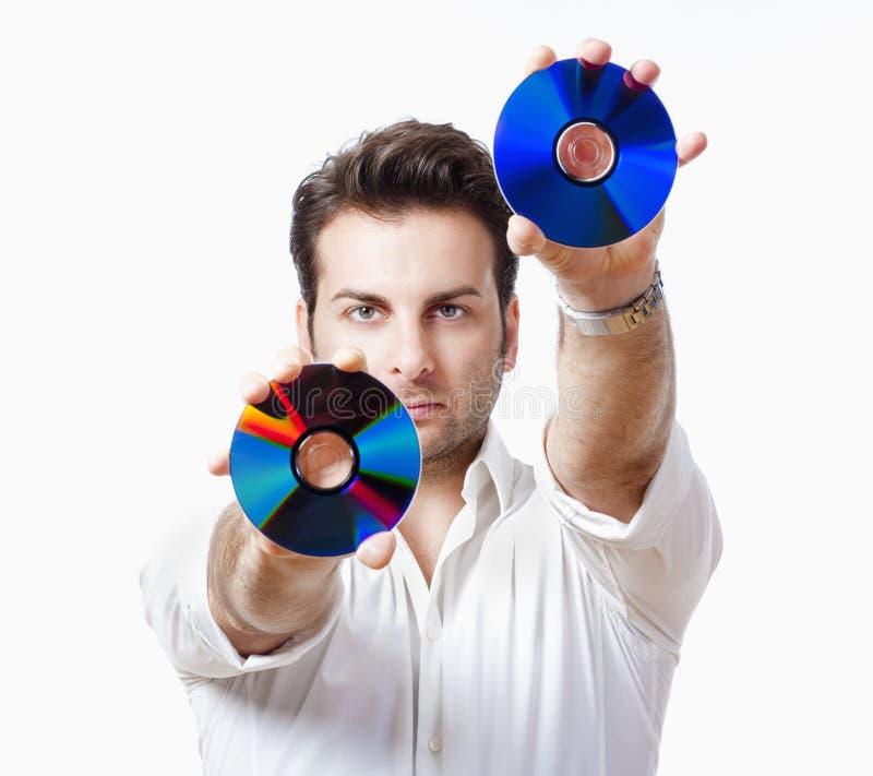 cd человек удерживания стоковая фотография