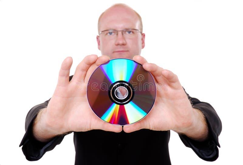 cd человек удерживания стоковая фотография rf