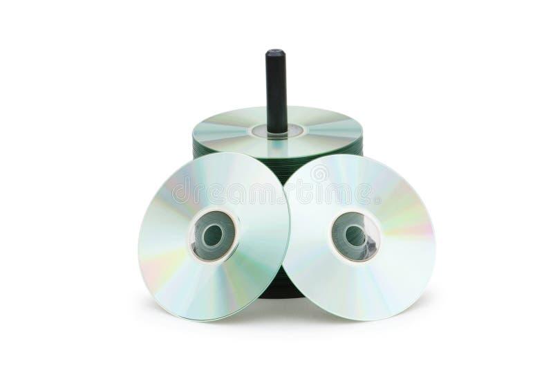 cd шпиндель изолированный дисками стоковые изображения