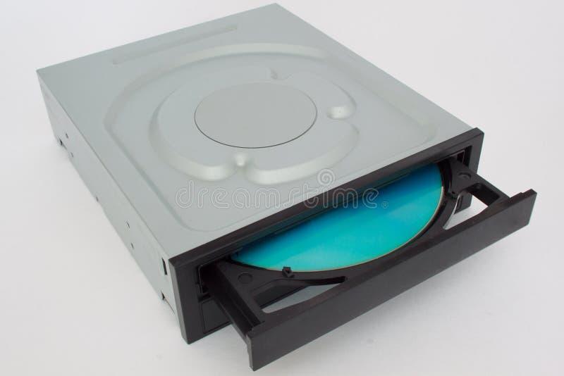 CD aberto - movimentação de DVD com um tampão preto e um disco azul fotos de stock royalty free