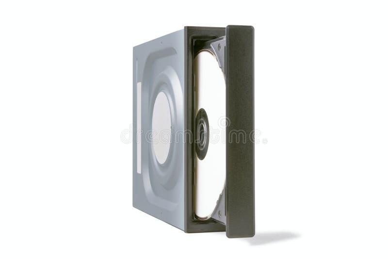 CD abierto de la impulsión - DVD - Blu Ray con un casquillo y un disco negros, fondo blanco imágenes de archivo libres de regalías
