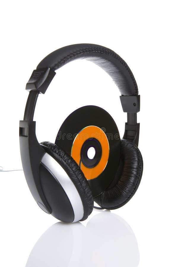 Cd&headphones foto de archivo