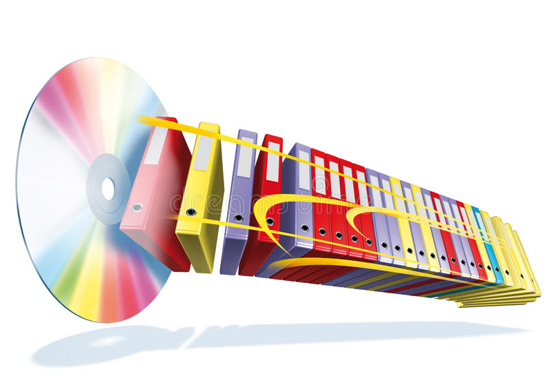 Cd archive. 3d rendering cd and archive vector illustration