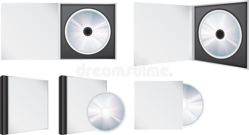 Cd artwork. Blank illustration visual of a cd in and out of box stock illustration