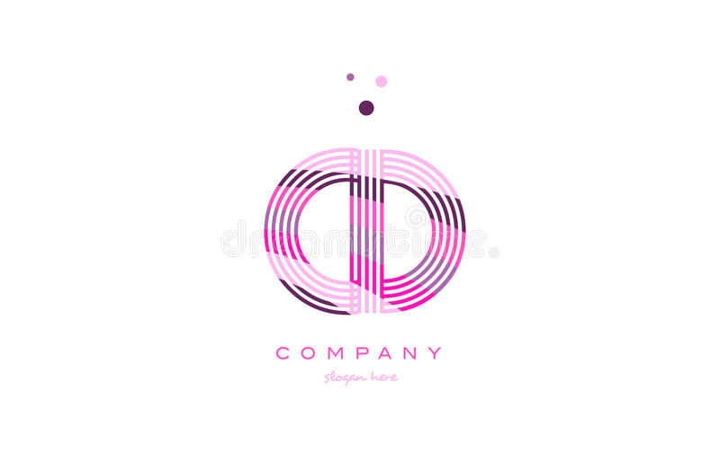 Cd c d alphabet letter logo pink purple line icon template vector. Cd c d alphabet letter logo pink purple line font creative text dots company vector icon royalty free illustration