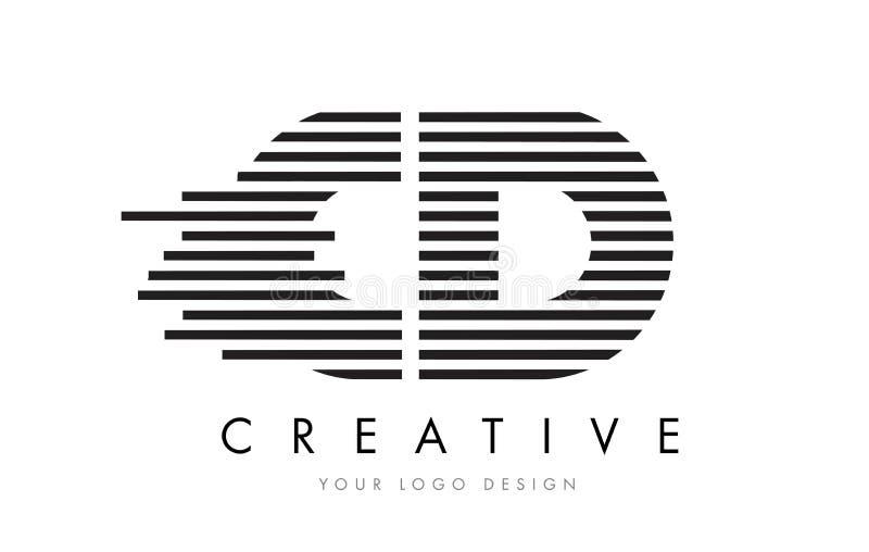CD C D Zebra Letter Logo Design with Black and White Stripes stock illustration