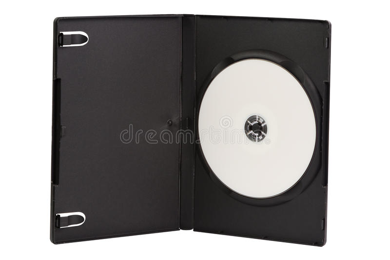 CD case with blank DVD disc isolated on white stock image