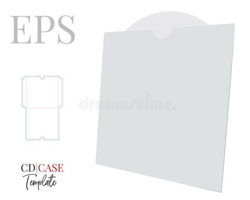 CD Case, CD Envelope template, vector with die cut / laser cut layers. White, clear, blank, isolated CD Envelope mock up. On white background with perspective royalty free illustration