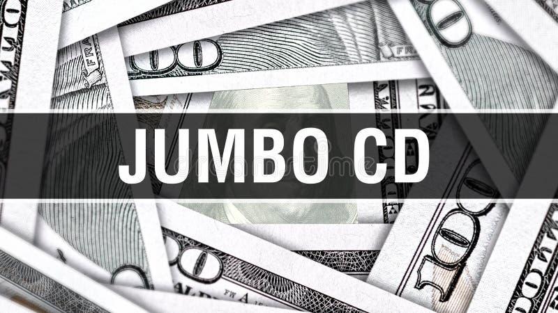 CD Closeupbegrepp för jumbo Amerikanska dollar kontanta pengar, tolkning 3D JumboCD på dollarsedeln Finansiell Comm för USA penga stock illustrationer