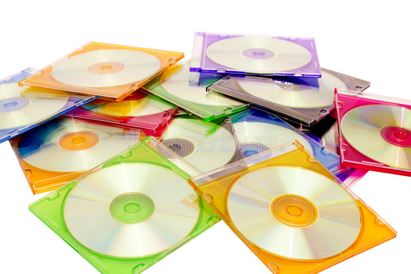 Cd colorés dans des cadres photo libre de droits