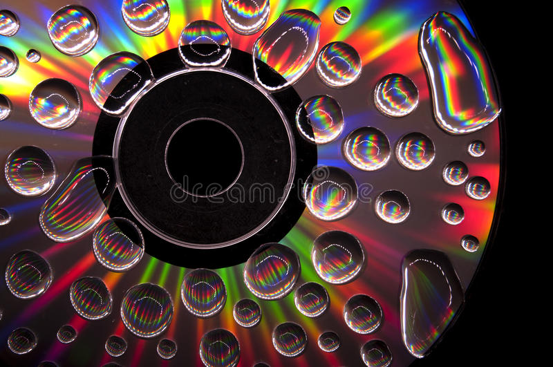 CD com Waterdrops fotos de stock royalty free