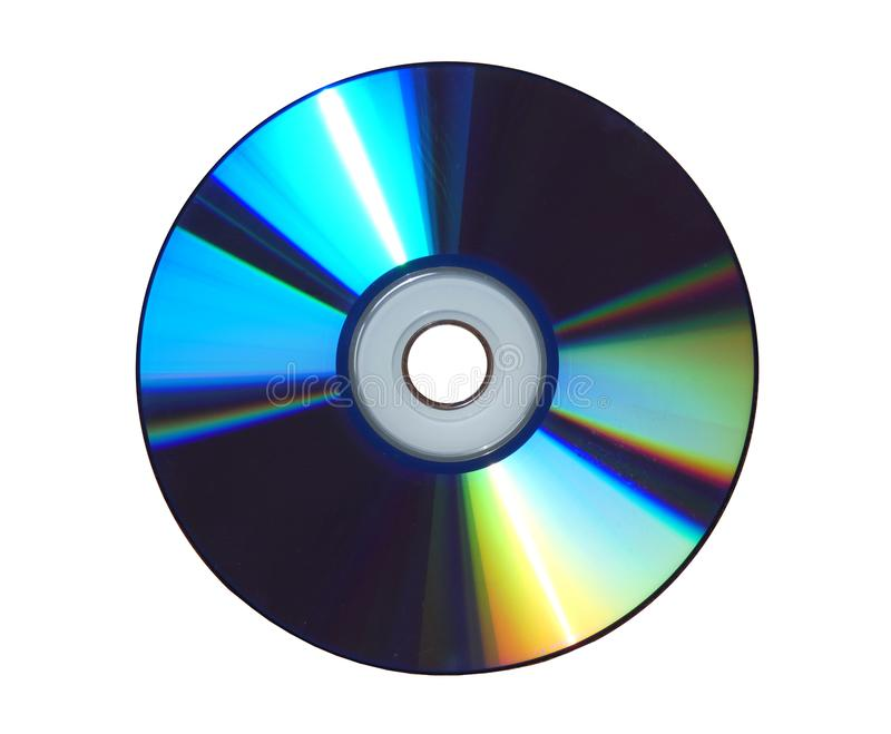 CD compact disc - classic readable surface isolated. Format, kind of digital optical disc data storage. Memory device for computer. In white background stock images