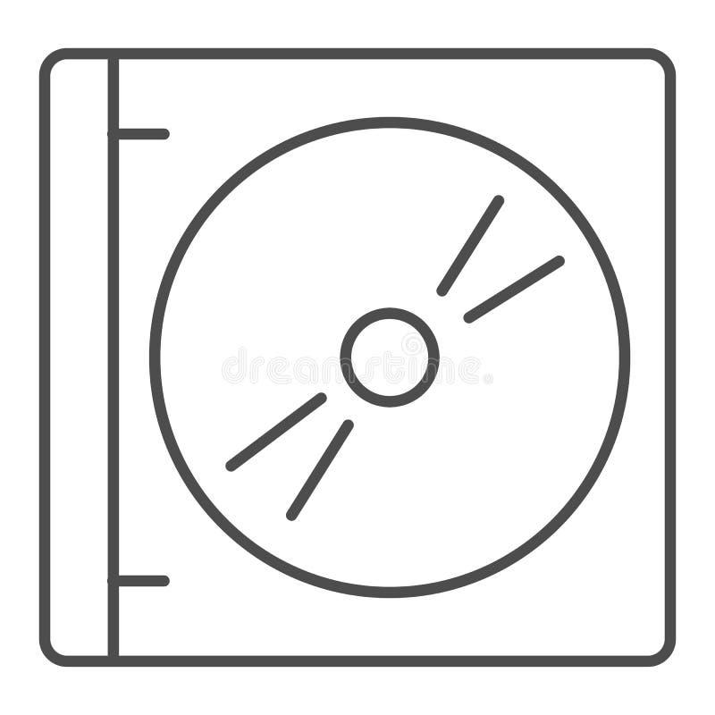 Cd con la línea fina icono de la cubierta Ejemplo del vector de la caja del DVD aislado en blanco Disco en el diseño del estilo d stock de ilustración