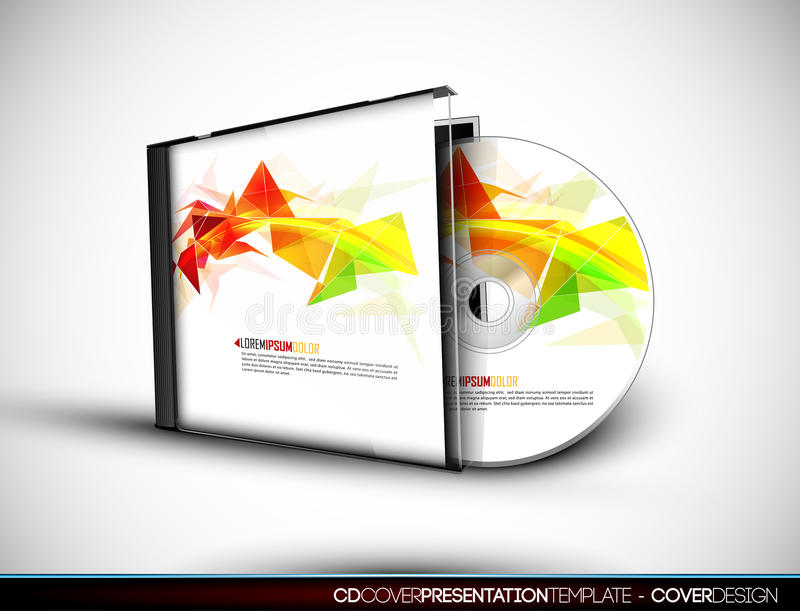 CD Cover Design with 3D Presentation Template. | Everything is Organized in Layers Named Accordingly | To Change the Cover Design use the Cd and Cover Design stock illustration