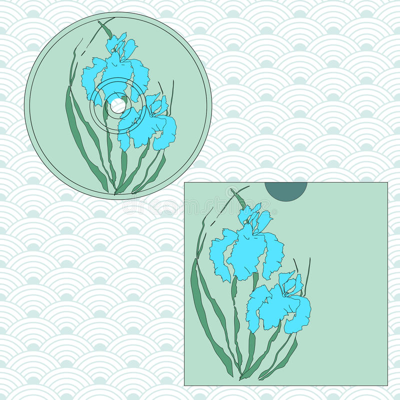 CD cover design. Hand-drawing illustration. CD cover design. Vectorized irises, hand-drawing illustration, Stylized traditional Chinese painting, Japanese art royalty free illustration