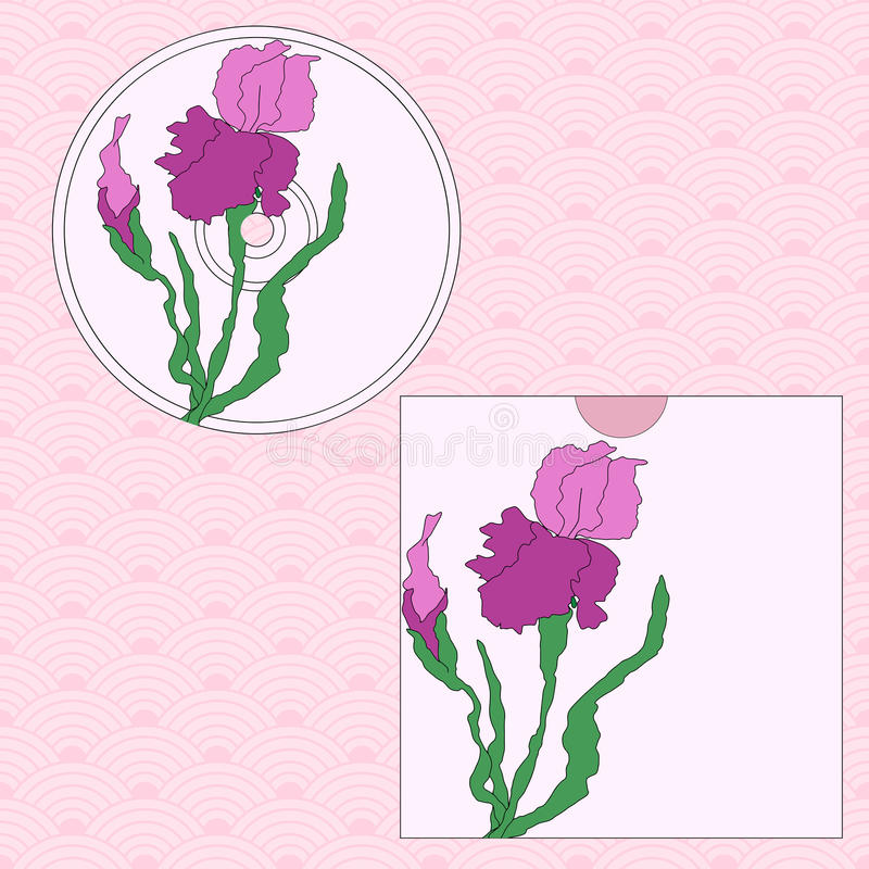 CD cover design. Hand-drawing illustration. CD cover design. Vectorized irises, hand-drawing illustration, Stylized traditional Chinese painting, Japanese art stock illustration