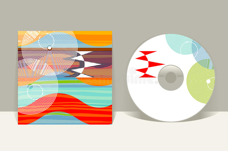 CD cover design template. Abstract pattern graphics. Editable design template. Clipping mask applied in EPS to hide bleed area stock illustration